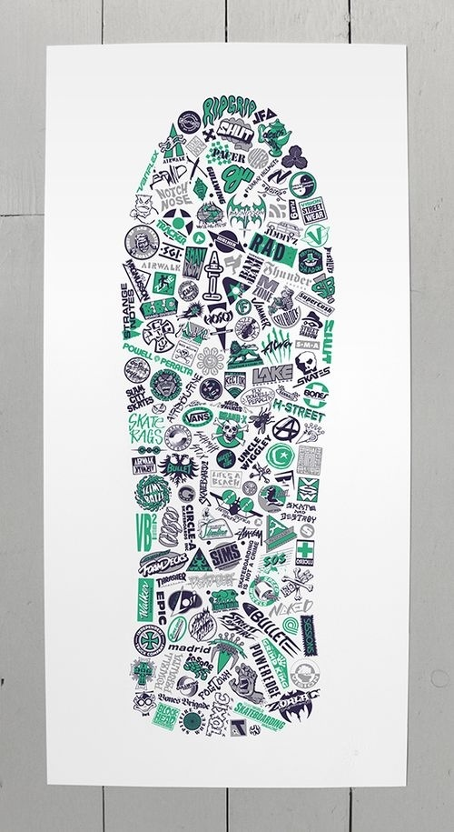 Collection of vintage (1980's) skateboard logos, redrawn and arranged within the shape of a classic 80's skate deck. Green 801 screen print #vectorart #logos #limitededition #collection #screenprint #logo #skate #vintage #skateboard
