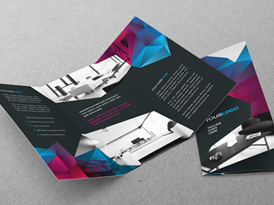 Cool Modern Trifold. Download here: https://dribbble.com/shots/1564439-Cool-Modern-Trifold #pattern #modern #print #colorful #gradient #template #brochure #cool