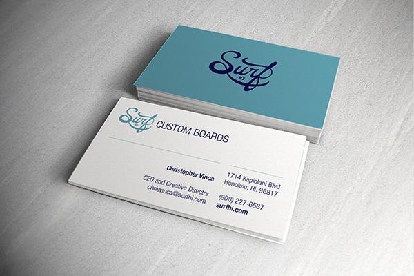 Surf HI business cards - Christopher Vinca #mock #branding #business #print #design #identity #up #logo #cards #typography