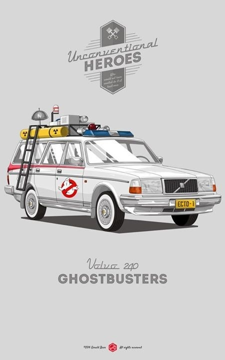 We came, we saw, we kicked its ass. #unconventionalheroes #movie #ghostbusters #240 #volvo #gerald #vintage #poster #bear #car