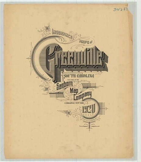 Sanborn Map Company title pages / Sanborn Insurance map - South Carolina - GREENVILLE - 1920 #typography #lettering 50% 3471 × 3965 pixels The Typogr
