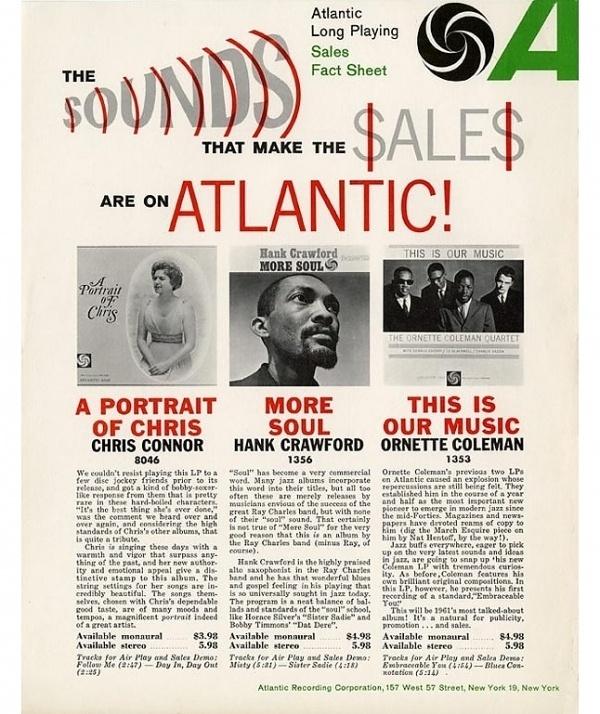 1961 Atlantic Long Playing Sales Fact Sheet - Photos - Atlantic Records #typography #atlantic #gothic #franklin #music #records #soul