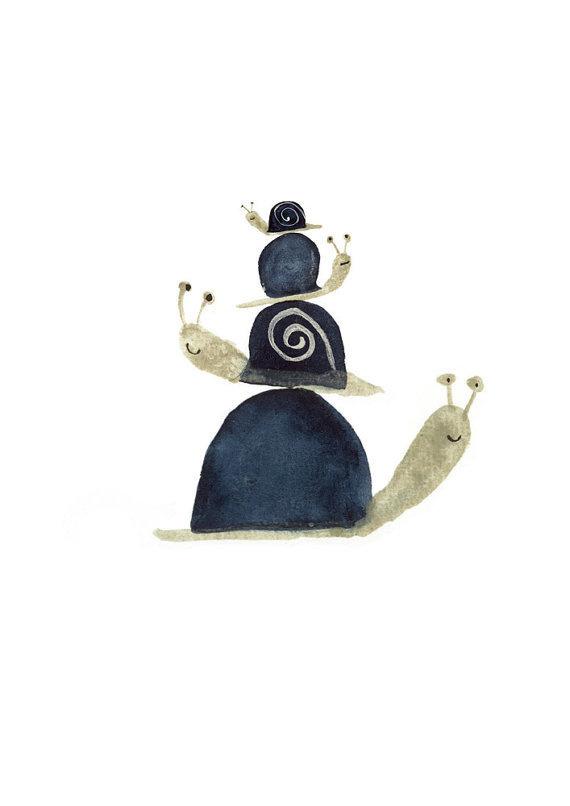 Art print Stack of Snails cute watercolor illustration digital print A5 #illustration #etsy #snail