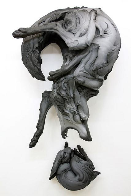 "Preview of Beth Cavener Stichter's ""Come Undone""   Hi Fructose Magazine #rabbit #sculpture #wolf"