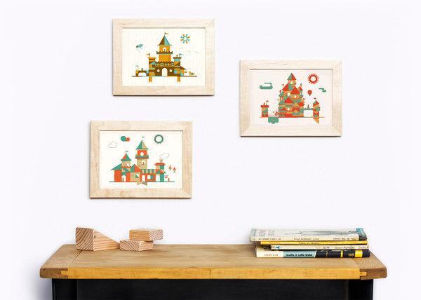 Castles #flat #vector #print #design #color #illustration