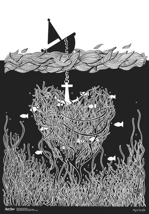 Don't Panic by Magda Łupińska #lisystudio #magda #don #fish #anker #upiska #black #ship #sea #lisy #panic