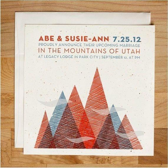 Wedding invitation Textured Mountain Invitation Set via Etsy #mountains