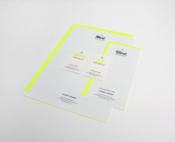 Word. #font #branding #copywriting #neon #yellow #word #fluoro #copy #brand #identity #typeface #neutral #stationery #passport #type #fluroescent #typography