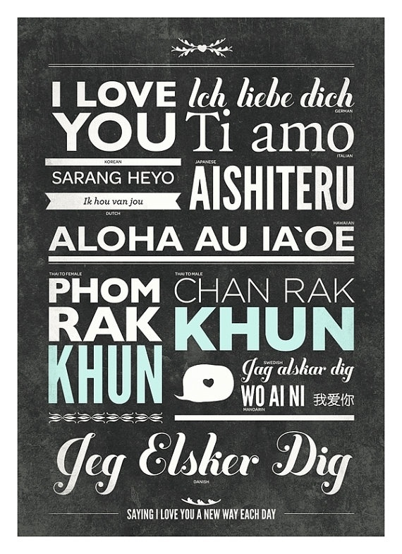Different language of love typography poster by NeueGraphic #print #neuegraphic #poster #art #typography