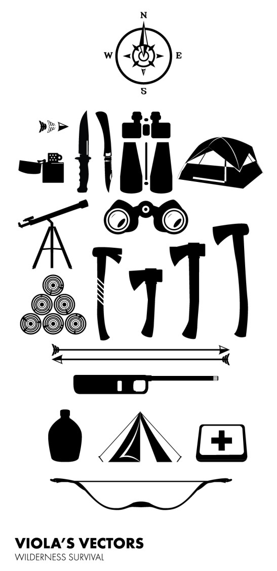 Wilderness - Camping Survival #vector #white #wilderness #camping #black #arrows #wood #illustration #lighter #and #axe #tent #binoculars