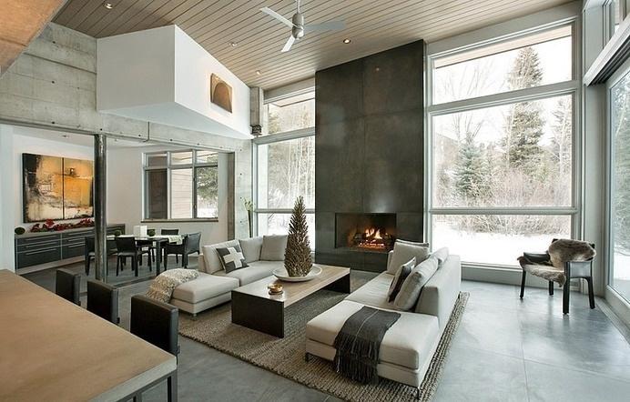 Unconventional Concrete Holiday Retreat near Aspen, Colorado #interior #mountain #design #retreat #holiday