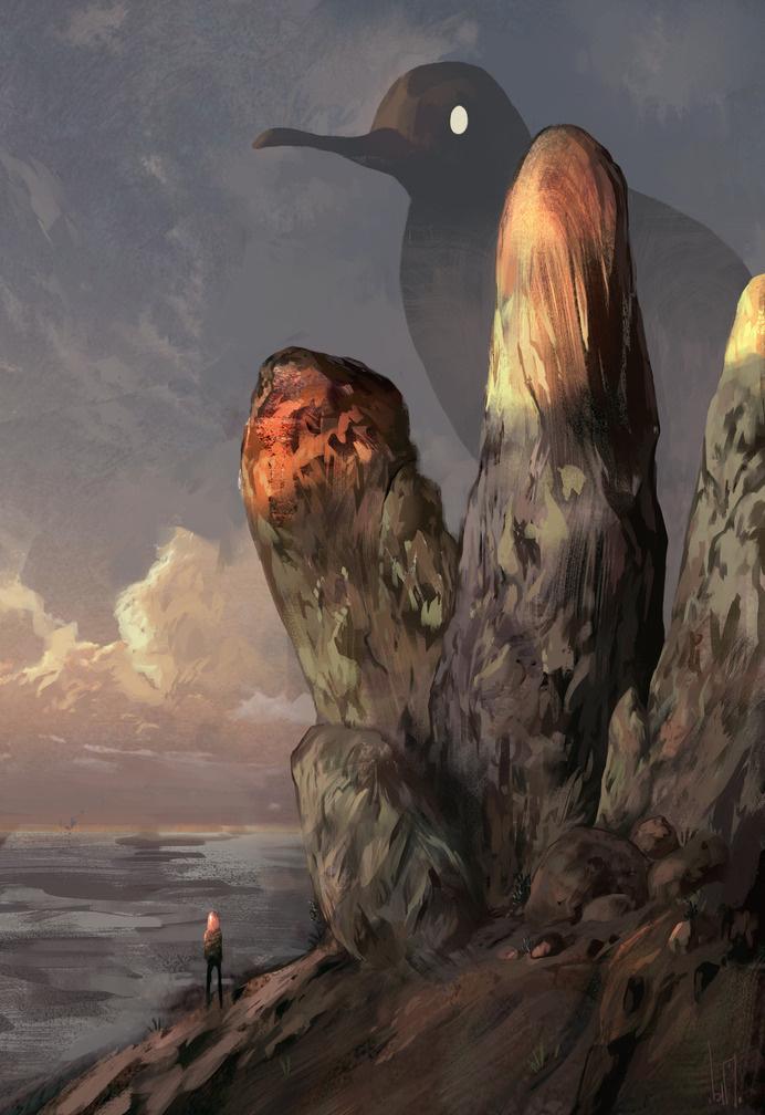 By Bim. Follow on tumblr (http://hou-bim.tumblr.com/) #ghost #haunting #design #bird #landscape #illustration #rocks #strange #art #surreal #beach #coast #shadow