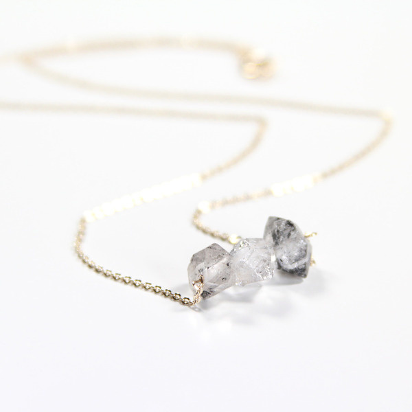 Medium Herkimer Diamond Tri #jewelry #necklace