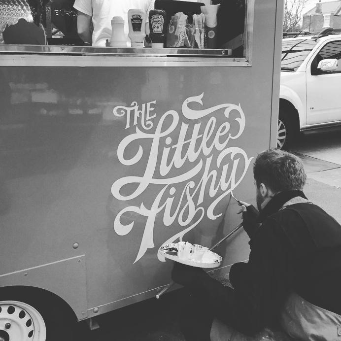 the little fishy #foodtruck #Sign Writer #lettering http://www.ashleywillerton.com/ #lettering