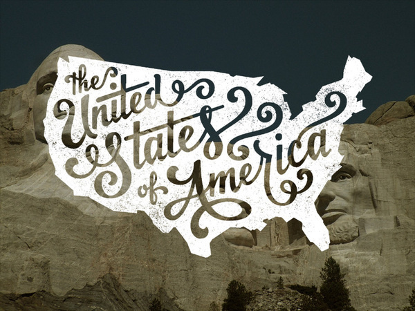 United States of America Lettering — Jude Landry #usa #america #map #typography