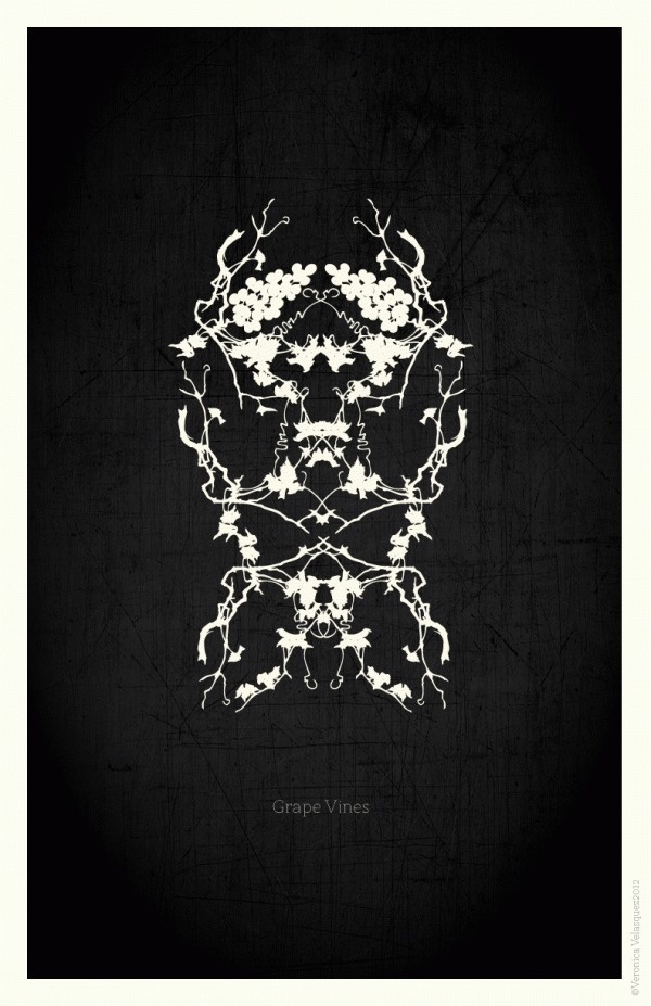 Flowers Poster Series #design #graphic #black #veronica #grapes #mask #poster #velasquez #vines #face #flowers