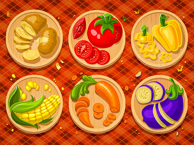 Vegetables #pepper #carrot #vector #icons #vegetables #aubergine #tomato #illustration #potato #painting #corn
