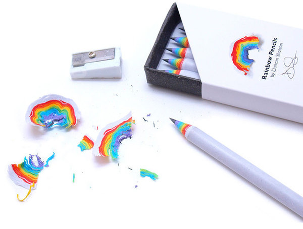 rainbow pencils by duncan shotton made from recycled paper #pencil #colorful #recycled #rainbow #paper