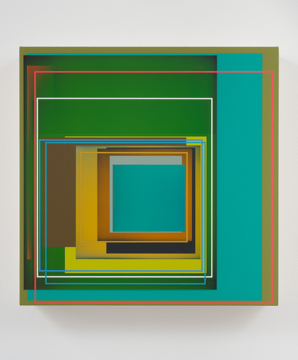 "Patrick Wilson, ""Summer Garden"", 2011, Acrylic on canvas, 17"" x 17"" #geometric #art"