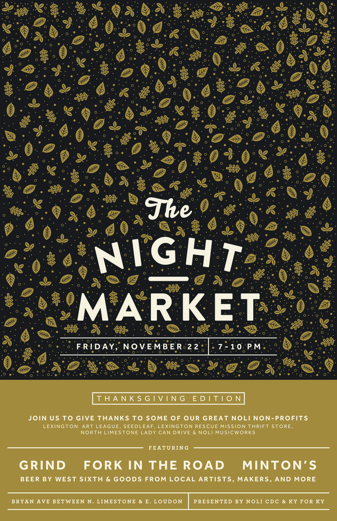 NightMarket_November #market #event #astrology #design #publicity #night #kentucky #thanksgiving #autumn #poster #moon