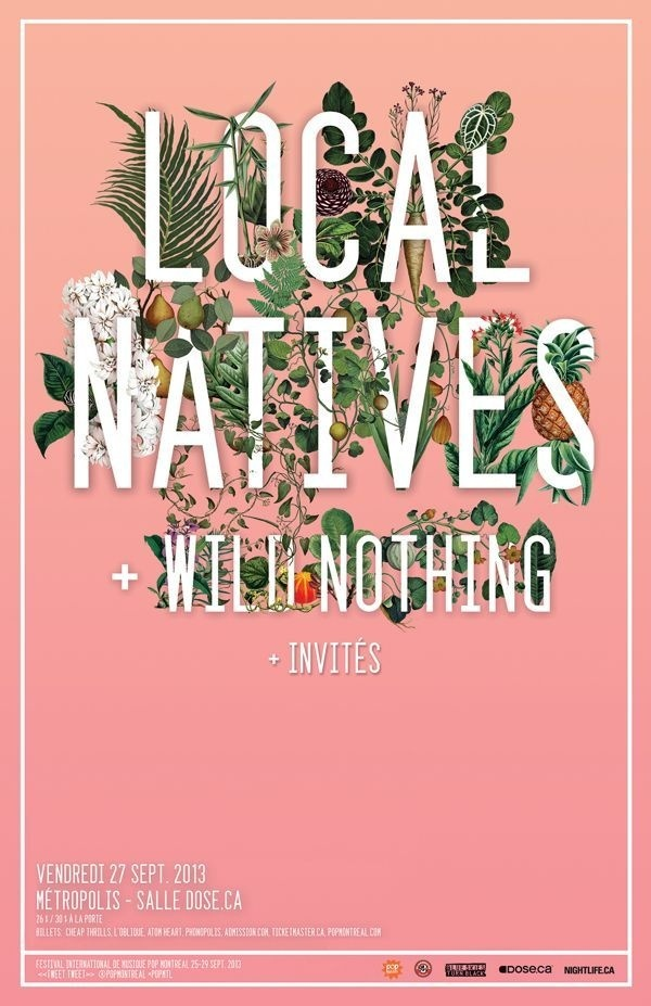 Local Natives poster #print #typography #poster #graphics #pink #band #floral #blush