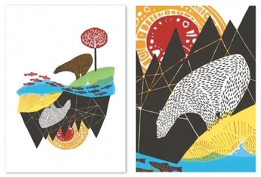 Andrew Holder #fish #screenprint #illustration #bear #holder #andrew