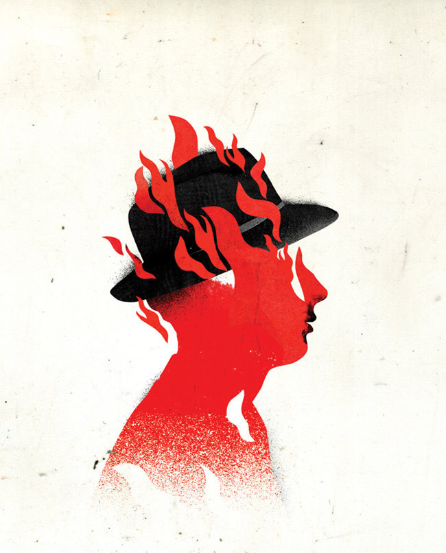 Emmanuel Polanco / Les InRockuptibles magazine / Colagene.com #flames #red #burn #out #illustration #paint #hat #man #collage