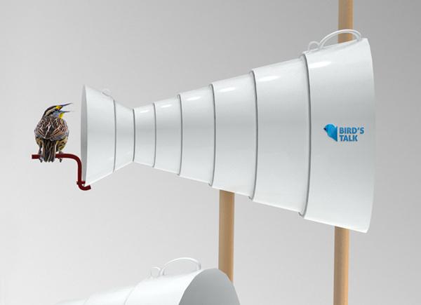Bird's Talk is a playful interpretation of a traditional wooden nest box . #nest #amp #design #product #birds #sound #functional