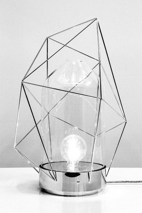 Reverie Lamp by designer Sergio Guijarro. @Kikekeller gallery, Madrid. #lamp #sergio #geometry #glass #reverie #brass #metal #guijarro #light