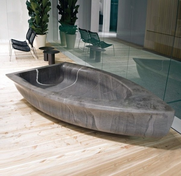 Art bathtub like stone boat sculpture #artistic #bathroom #furniture #art #bathtub