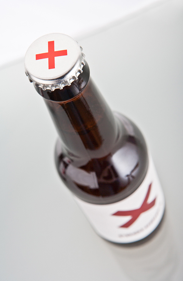 bottle, beer, x, red, bold, simple, minimal, white, brown, flashy