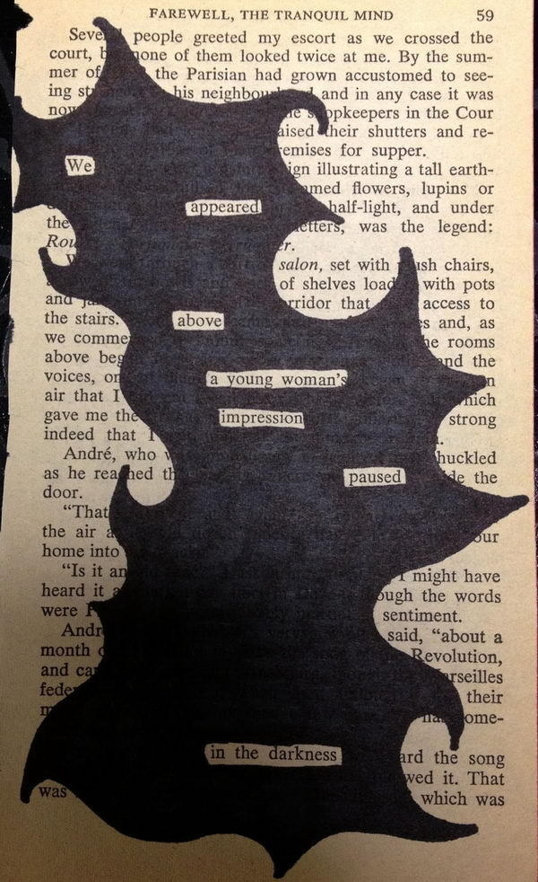 Find words that form a mini story or poem and black out the rest. #ideas #therapy #art