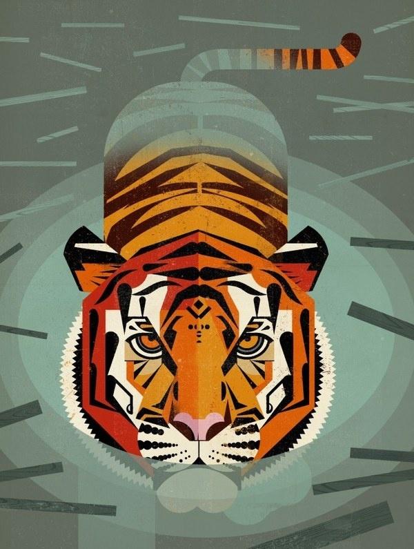 Swimming Tiger by Dieter Braun (http://www.brauntown.com/) #illustration #art #minimal #water #digital #tiger #dieter braun