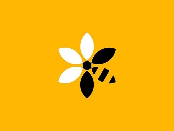 BeeBank Development Logo #mark #duality #wasp #bee #geometric #flower #logo
