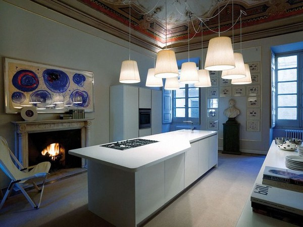 Kitchen with abstract painting