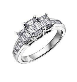 Three Stone (1.50ct) Diamond Ring 18K White Gold