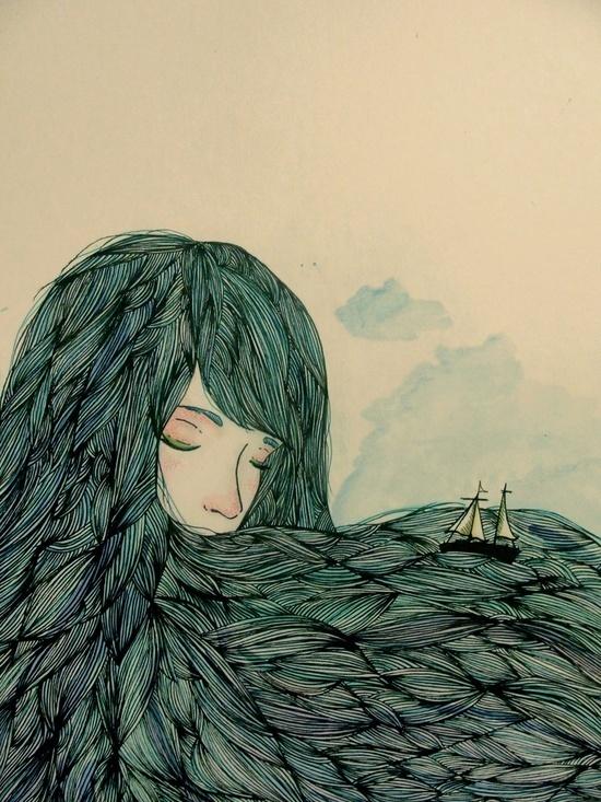 Valentina Contreras #ocean #fantasy #woman #hair #illustration #ship #boat