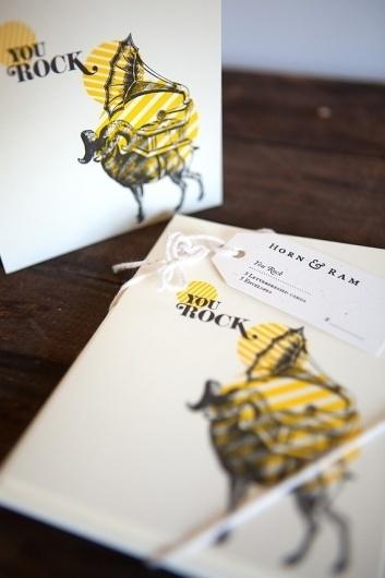 You Rock by hornandram on Etsy #card #design #handmade #stationery #leterpress