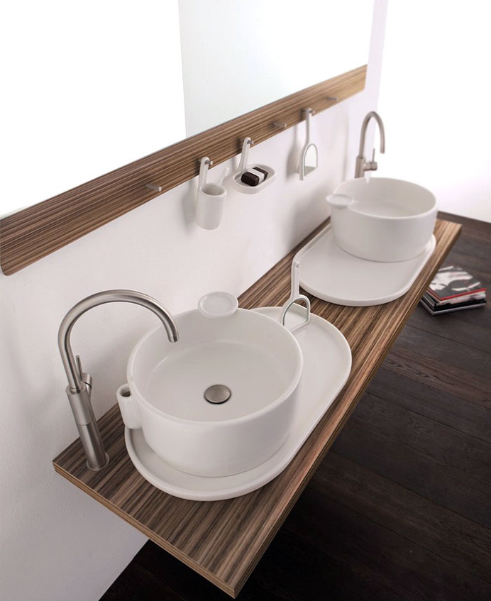 Wall Mounted Double Washbasin Cabinet Ukiyo E   #bath, #interior, #