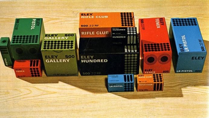 Eley, Imperial Metal Industries (1966) Range of packs for cartridges made by Imperial Metal Industries (Kynoch) Artist: David Mawford / Jo