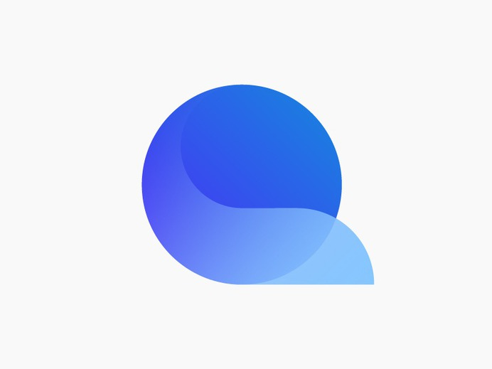 Q monogram blue gradient connection tail fox movement transparency trust icon mark brand circle golden ratio q letter logo
