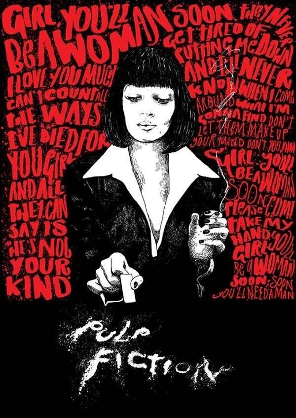 Pulp Fiction fan art by Peter Strain, an AOI Award winning Illustrator working and living in Belfast. #typography