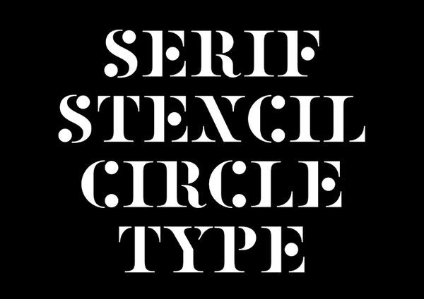 stencil, circle, font