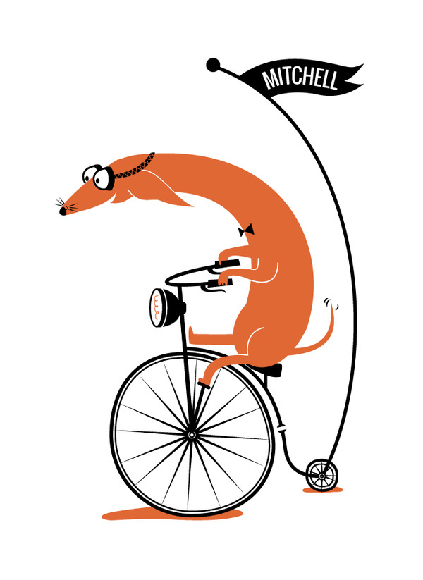 Cycling Sausage by Kayla King for minted.com | tinyinklings.com #glasses #bicycle #cyclist #illustration #dog