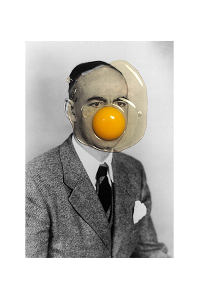 Brest Brest Brest #photo manipulation #collage #egg #black and white #portrait