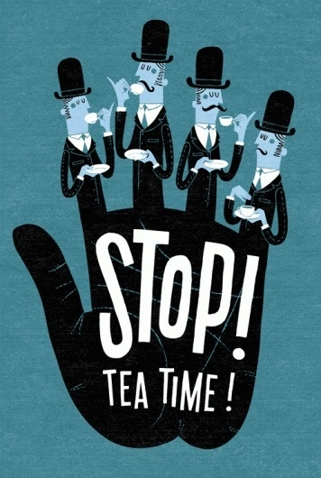 Esther Aarts » Stop! Tea Time! #t #print #retro #shirt #screen #illustration #poster #type