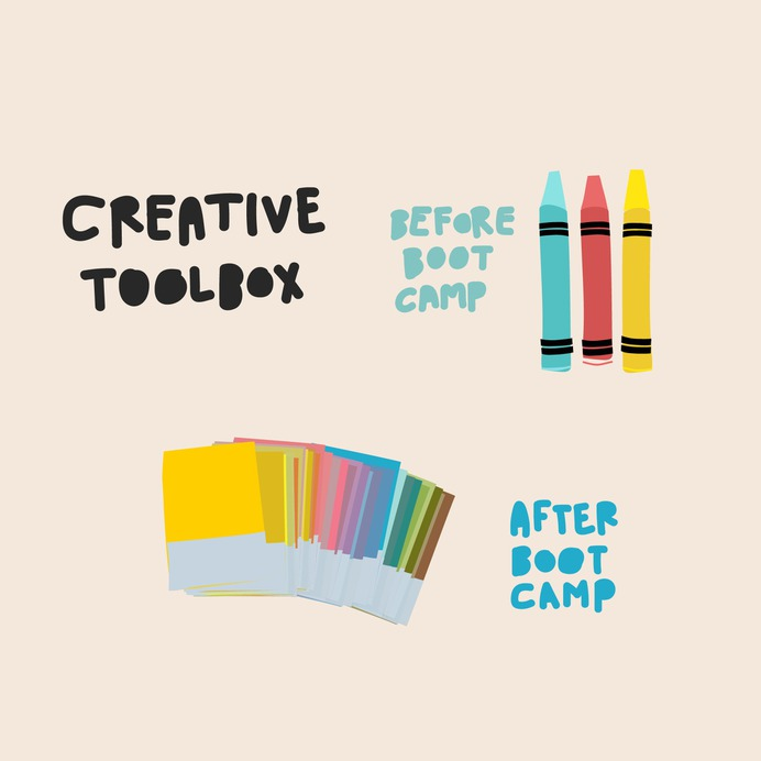 Before boot camp you had crayons, now we welcome you to Pantone, it's great   2016 Advertising Boot Camp from McKee Wallwork + Co.   Illustration and design by Brittany Byrne, copywriting by Maria Anderson