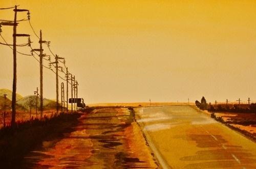 CR. #tumblr #yellow #orange #road #lanscape #brown #com #watercolor #sunset #crollan