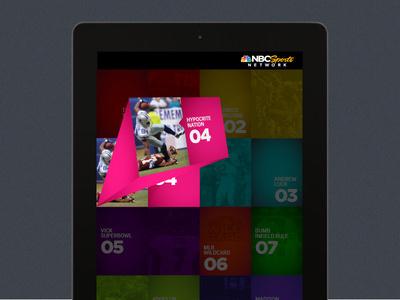iPad UI for NBC Sports Network 5