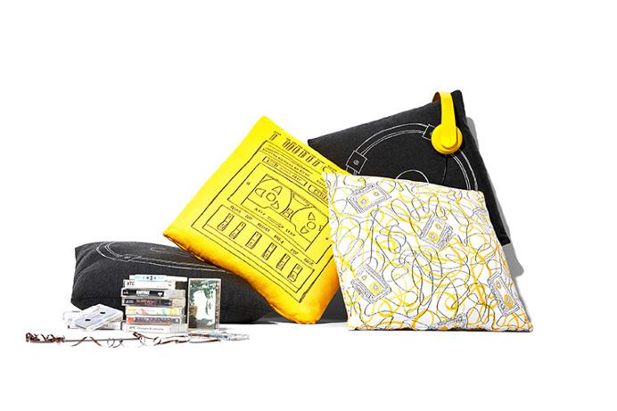 Yellow outdoor Boom Box pillow / Stori Modern